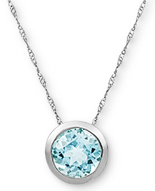 "Macy's Birthstone 18"" Bezel Pendant Necklace in 14k Gold"