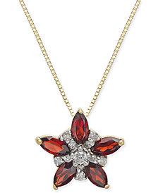 "Rhodolite Garnet (1 ct. t.w.) & Diamond (1/10 ct. t.w.) Star 18"" Pendant Necklace in 14k Gold"