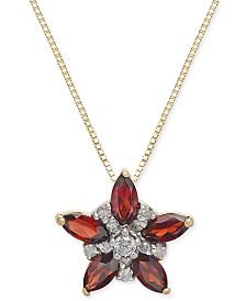 "Rhodolite Garnet (1 ct. t.w.) & Diamond (1/10 ct. t.w.) Star 18"" Pendant Necklace in 14k Gold"