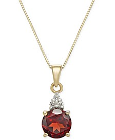 "Garnet (1-5/8 ct. t.w.) & Diamond Accent 18"" Pendant Necklace in 14k Gold"