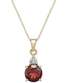 "Garnet (1-5/8 ct. t.w.) & Diamond Accent 18"" Pendant Necklace in 14k Gold"