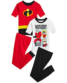 Disney Little & Big Boys 4-Pc. Incredibles Cotton Pajama Set