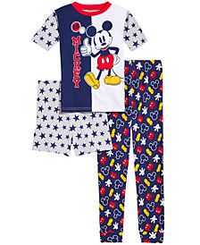 Mickey Mouse Little & Big Boys 3-Pc. Mickey Mouse Cotton Pajama Set