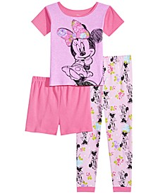 Little & Big Girls 3-Pc. Minnie Mouse Cotton Pajama Set