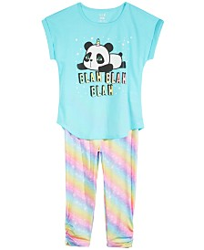 Max & Olivia Big Girls 2-Pc. Graphic-Print Pajama Set