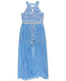 Speechless Big Girls Lace Maxi-Overlay Romper