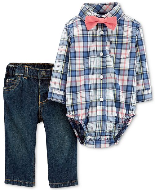 Carter's Baby Boys 3-Pc. Cotton Bow-Tie, Plaid Bodysuit & Jeans Set