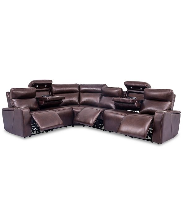 Furniture Oaklyn 6-Pc. Leather Sectional Sofa with 3 Power Recliners, Power Headrests, USB Power Outlet & 2 Drop Down Tables