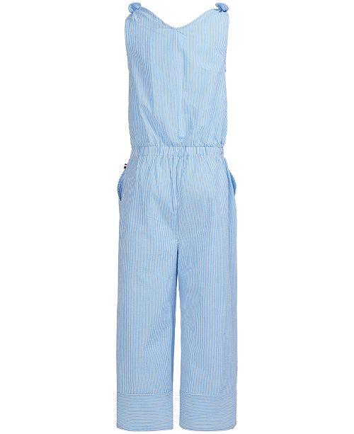 26deac36e0e Tommy Hilfiger Big Girls Seersucker Wide-Leg Cotton Jumpsuit ...