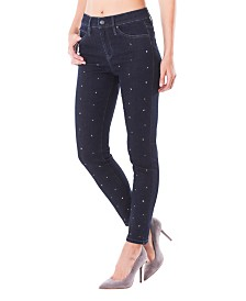 Nicole Miller New York Soho High-Rise Ankle Skinny Jeans with Swarovski Crystals