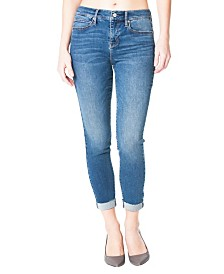Nicole Miller New York Soho High-Rise Ankle Skinny Jeans with Rolled Cuff
