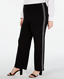 Alfani Plus Size Side-Stripe Wide-Leg Pants, Created for Macy's