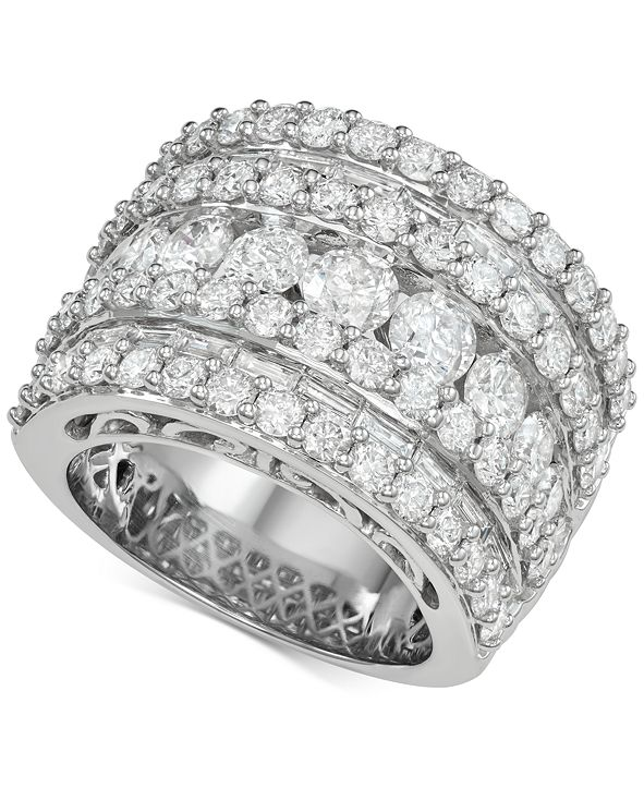 Macy's Diamond Five Row Band (5 ct. t.w.) in 14k White Gold