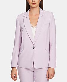 1.STATE Textured-Crepe One-Button Blazer