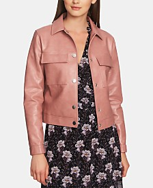1.STATE Patch-Pocket Faux Leather Jacket