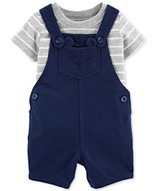 Carter's Baby Boys 2-Pc. Striped Cotton T-Shirt & Bear Shortall Set