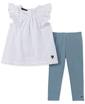 bfc9faad039 Tommy Hilfiger Toddler Girls 2-Pc. Eyelet Tunic & Denim Leggings Set