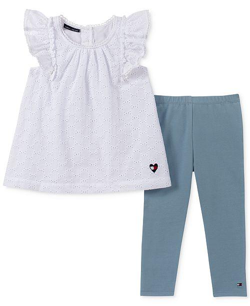 Tommy Hilfiger Little Girls 2-Pc. Eyelet Tunic & Denim Leggings Set