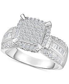 Diamond Multi-Shaped Stone Bridal Ring (1 ct. t.w.) in 14k White Gold