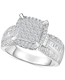 Diamond Multi-Shaped Stone Bridal Ring (1 ct. t.w.) in 14k White Gold