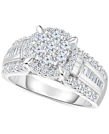 Diamond Cluster Bridal Ring (1 ct. t.w.) in 14k White Gold