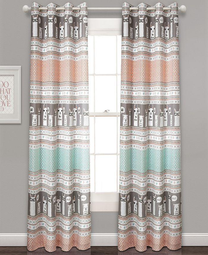 "Lush Décor - Llama Stripe 52"" x 84"" Curtain Set"