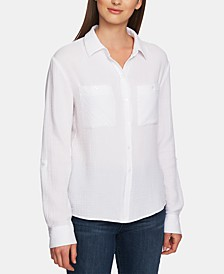 Cotton Collared Patch-Pocket Shirt