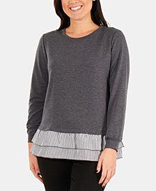 NY Collection Petite Layered-Look Ruffle-Hem Sweatshirt