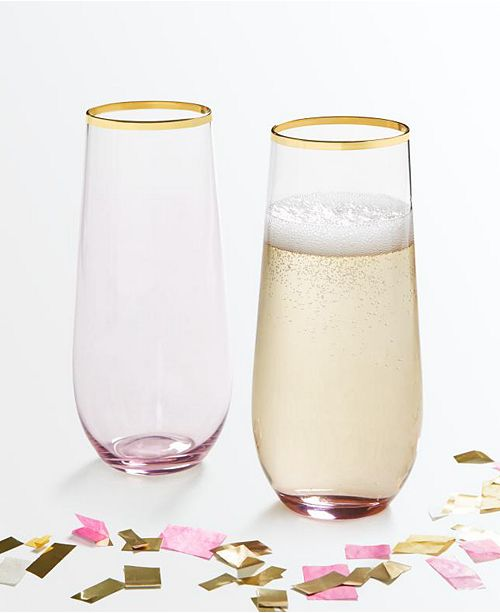 Martha Stewart Collection Set of 2 Stemless Flutes, Created for Macy's