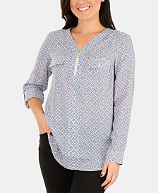 NY Collection Printed Front-Zipper Roll-Tab Sleeve Top