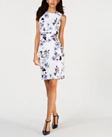 Calvin Klein Printed Sleeveless Sheath Dress