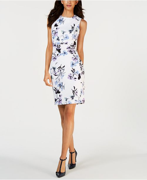 Calvin Klein Printed Sleeveless Sheath Dress