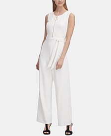 Logo Zipper Belted Jumpsuit