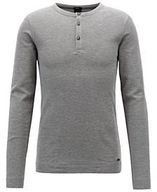 BOSS Men's Slim Fit Long-Sleeve Cotton Henley Shirt