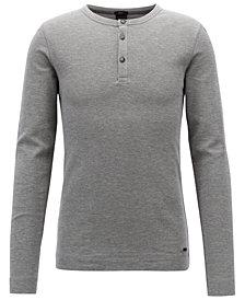 BOSS Men's Slim Fit Long-Sleeve Cotton Henley Shirt