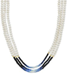 Cultured Freshwater Pearl (4mm) and Sapphire (39-1/2 ct. t.w.) Necklace in 14k Gold
