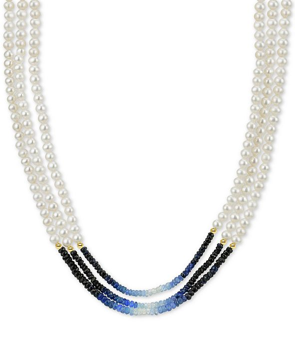 Macy's Cultured Freshwater Pearl (4mm) and Sapphire (39-1/2 ct. t.w.) Necklace in 14k Gold