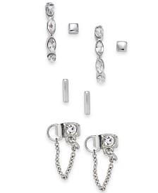I.N.C. Silver-Tone 4-Pc. Set Crystal Stud Earrings, Created for Macy's