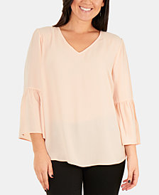 NY Collection Bell-Sleeve High-Low Top