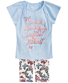 Epic Threads Little Girls Venice to Miami Graphic Top & Butterfly-Print Shorts Separates, Created for Macy's