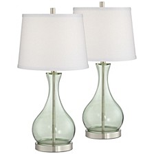 Green Glass Table Lamp - Set of 2