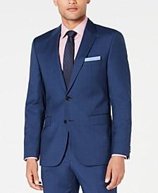 HUGO Men's Modern-Fit Medium Blue Plaid Suit Jacket