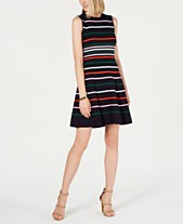 5cb155e08e4 Vince Camuto Petite Striped Knit Fit   Flare Dress
