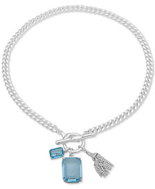 "Lauren Ralph Lauren Silver-Tone Stone & Chain Tassel 17"" Pendant Necklace"