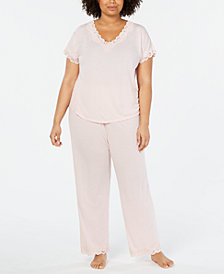 Charter Club Plus Size Lace Trim Pajama Set, Created for Macy's