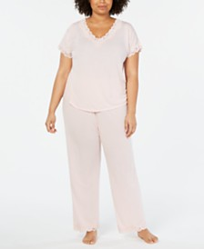 2b6863b87ce Charter Club Plus Size Lace Trim Soft Knit Pajama Set