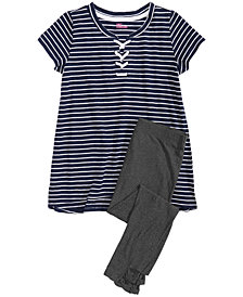 Epic Threads Big Girls Striped Lace-Up Top & Leggings Separates, Created for Macy's