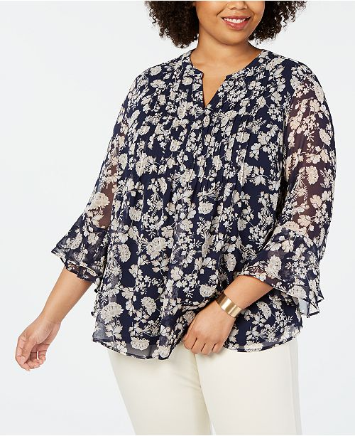 1a5b8ce4be1 ... Charter Club Plus Size Printed Tiered-Ruffle Top
