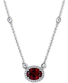 "Rhodolite Garnet (2 ct. t.w.) & White Topaz (1 ct. t.w.) Pendant Necklace in Sterling Silver, 16"" + 2"" extender"