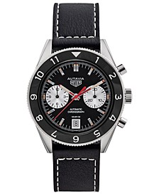 Men's Swiss Automatic Chronograph Viceroy Autavia 1972 Black Leather Strap Watch 42mm - A Special Re-Edition
